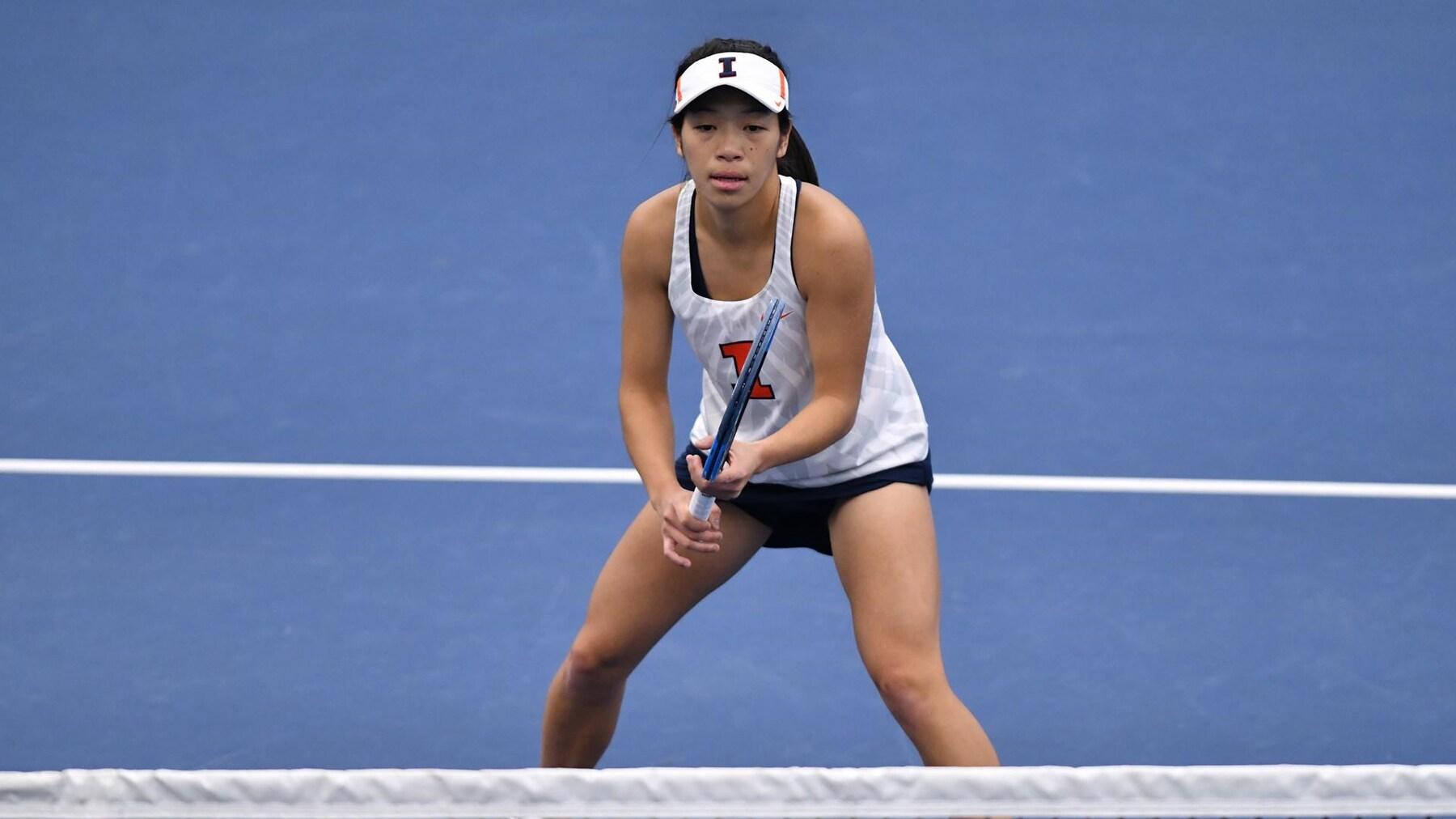 senior Asuka Kawai prepares to return a volley