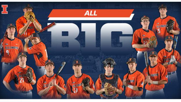 composite image of all big ten award winning baseball players