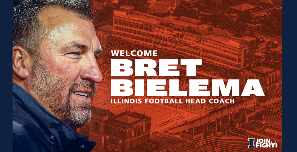 Bret Bielema in profile as part of announcement graphic