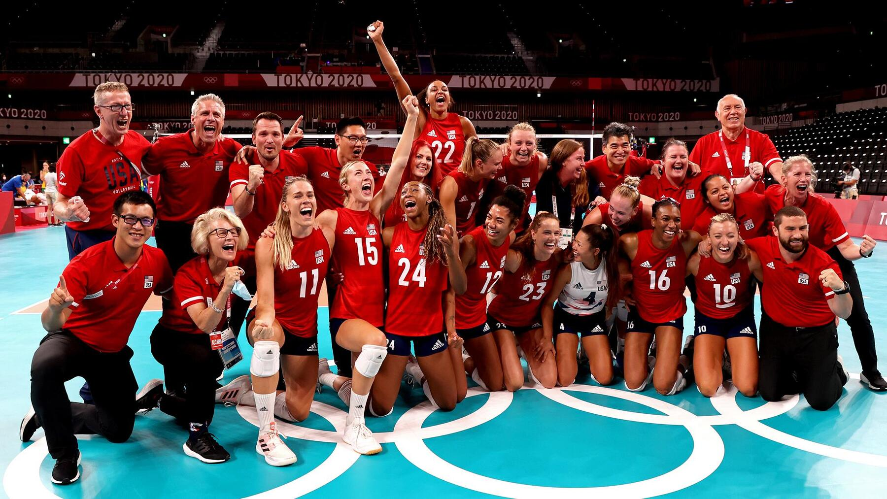 Olympic team photo after winning gold