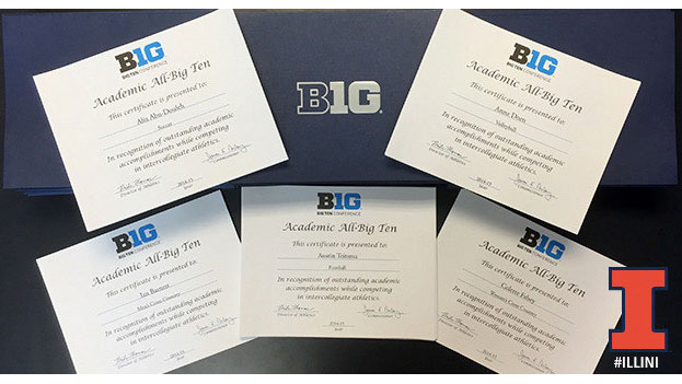 image is a banner graphic for academic big ten awardees