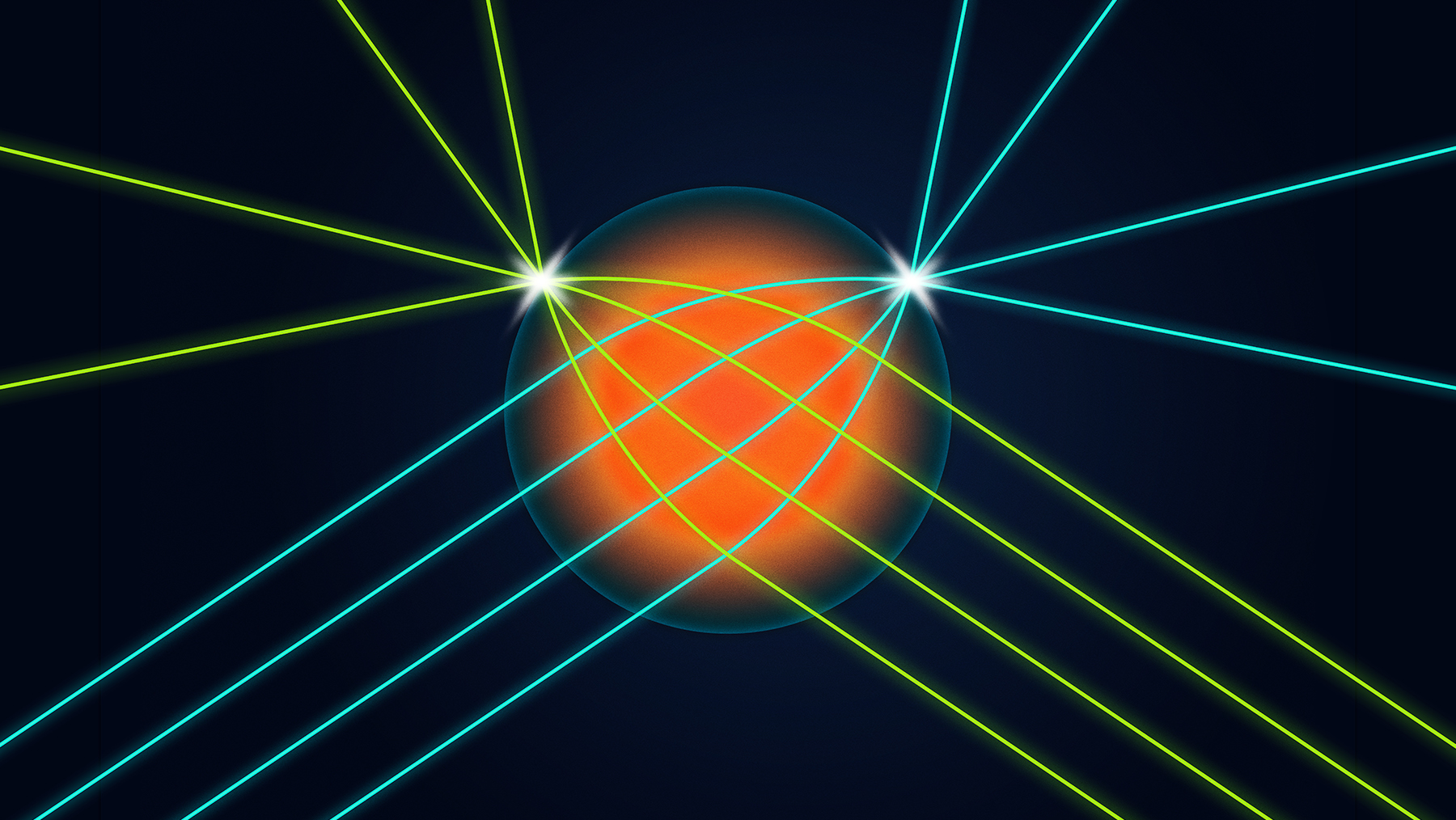 a spherical lens that allows light coming into the lens from any direction to be focused into a very small spot on the surface of the lens exactly opposite the input direction.  Graphic by Michael Vincent