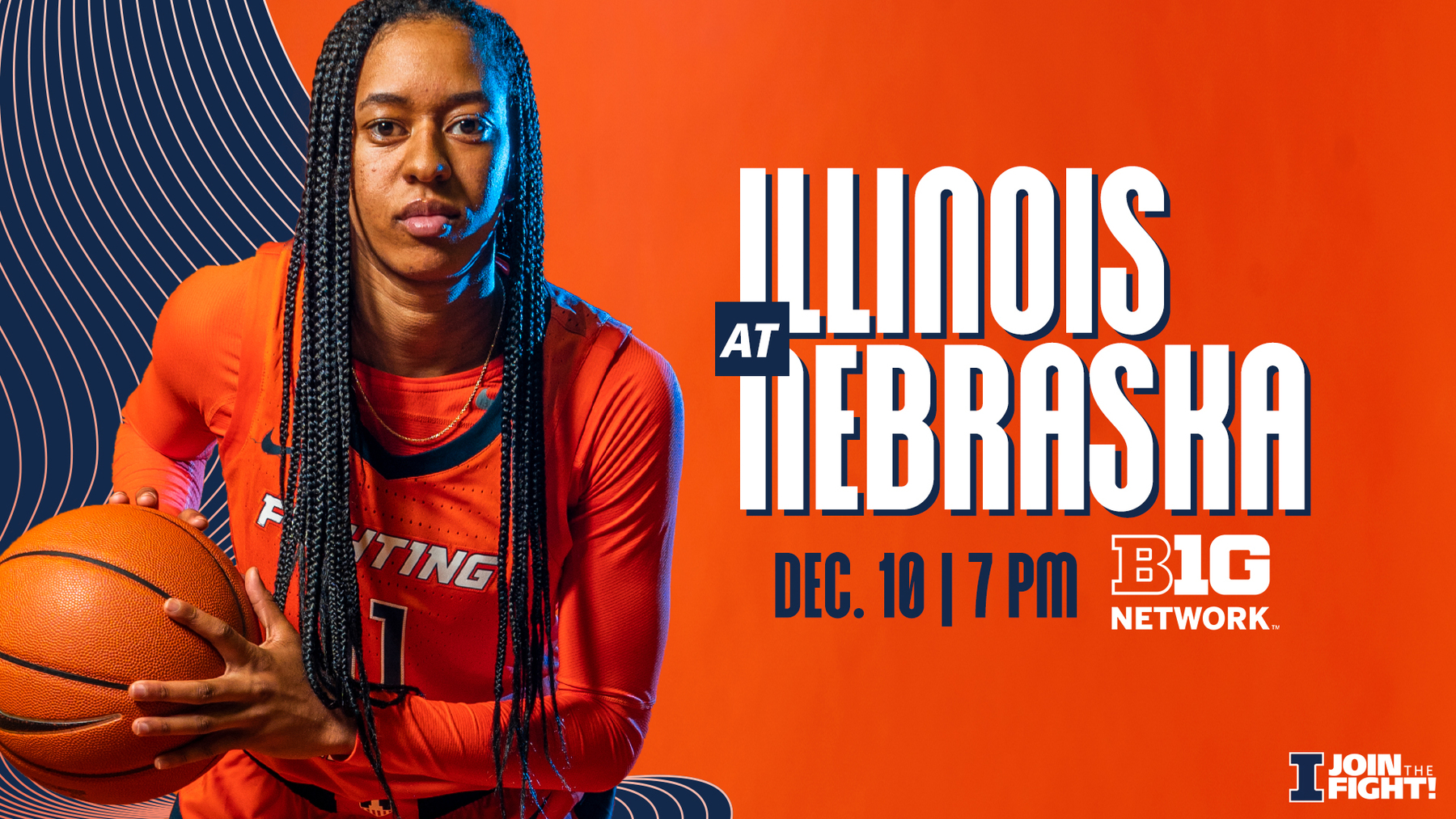 Guard Jada Peebles featured on graphic for Illinois vs. Nebraska game
