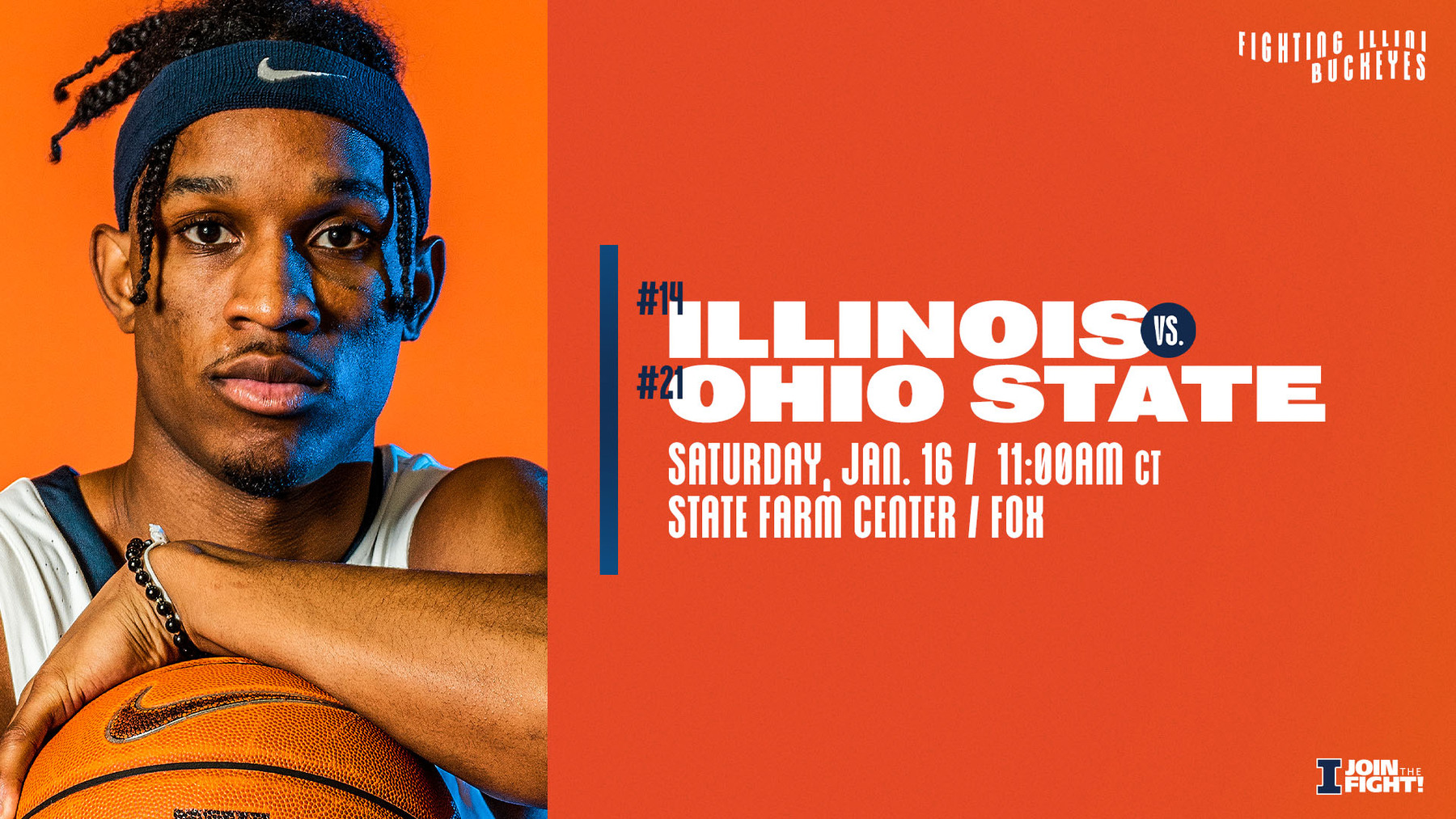 senior Trent Frazier featured on graphic promoting Saturday's men's basketball game against OSU