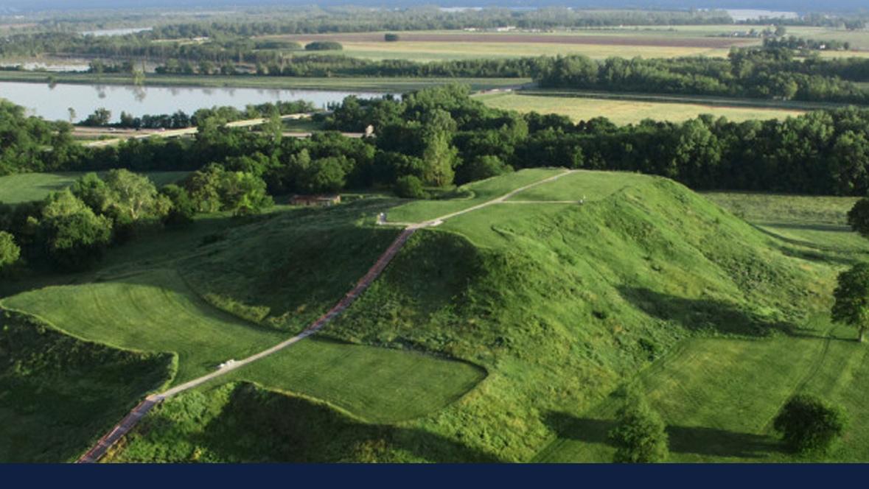 Cahokia Mounds aerial photo via cahokiamounds.org