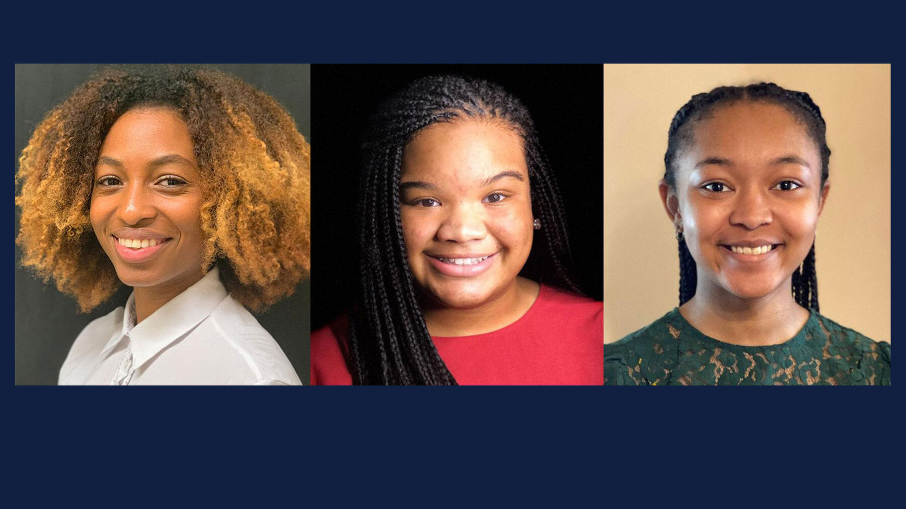 Fisk undergraduate students (L-R) Skye Faucher, Jaia Holleman, and Leiana-Lavette Woodard participated in summer training workshops at University of Illinois Urbana-Champaign. No photo credits available.