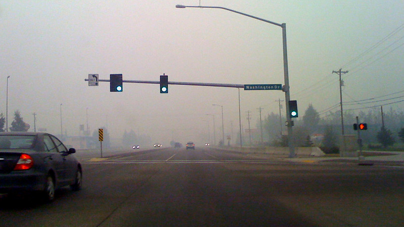 wildfire smoke reduces visibility in Fairbanks, AK. Photo by James Brooks via Flickr