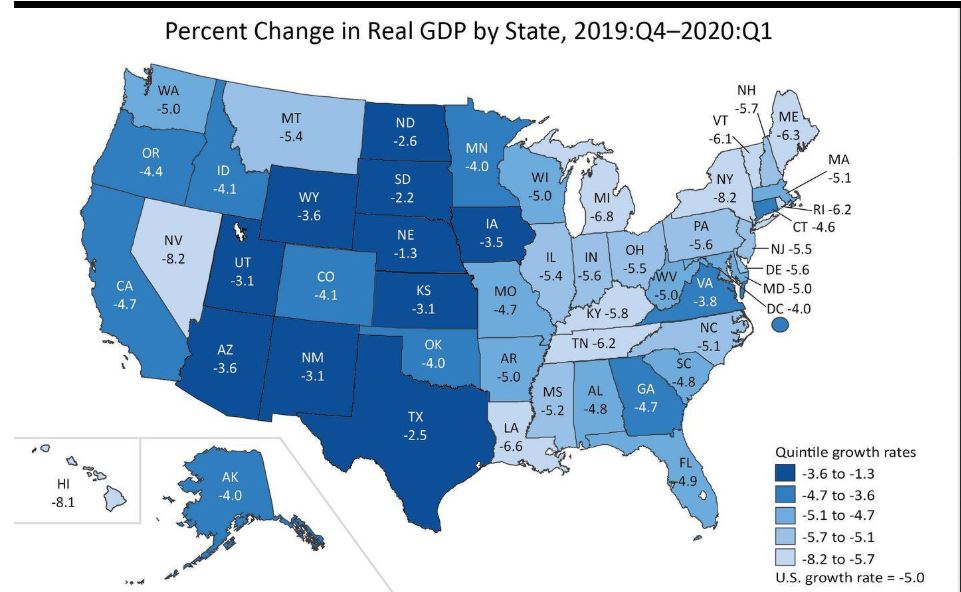 U.S. Bureau of Economic Analysis map showing first quarter economic slowdown in the states