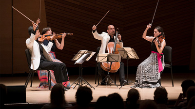 """Chaconne/Labyrinth,"" reflects the experience of living during a pandemic. The piece will have its world premiere April 3 with a virtual performance by the Jupiter String Quartet (pictured performing)"