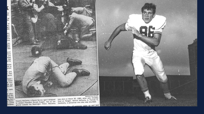 side by side images - Tim McCarthy as an Illini football player, and laying on the ground after being shot by John Hinckley.