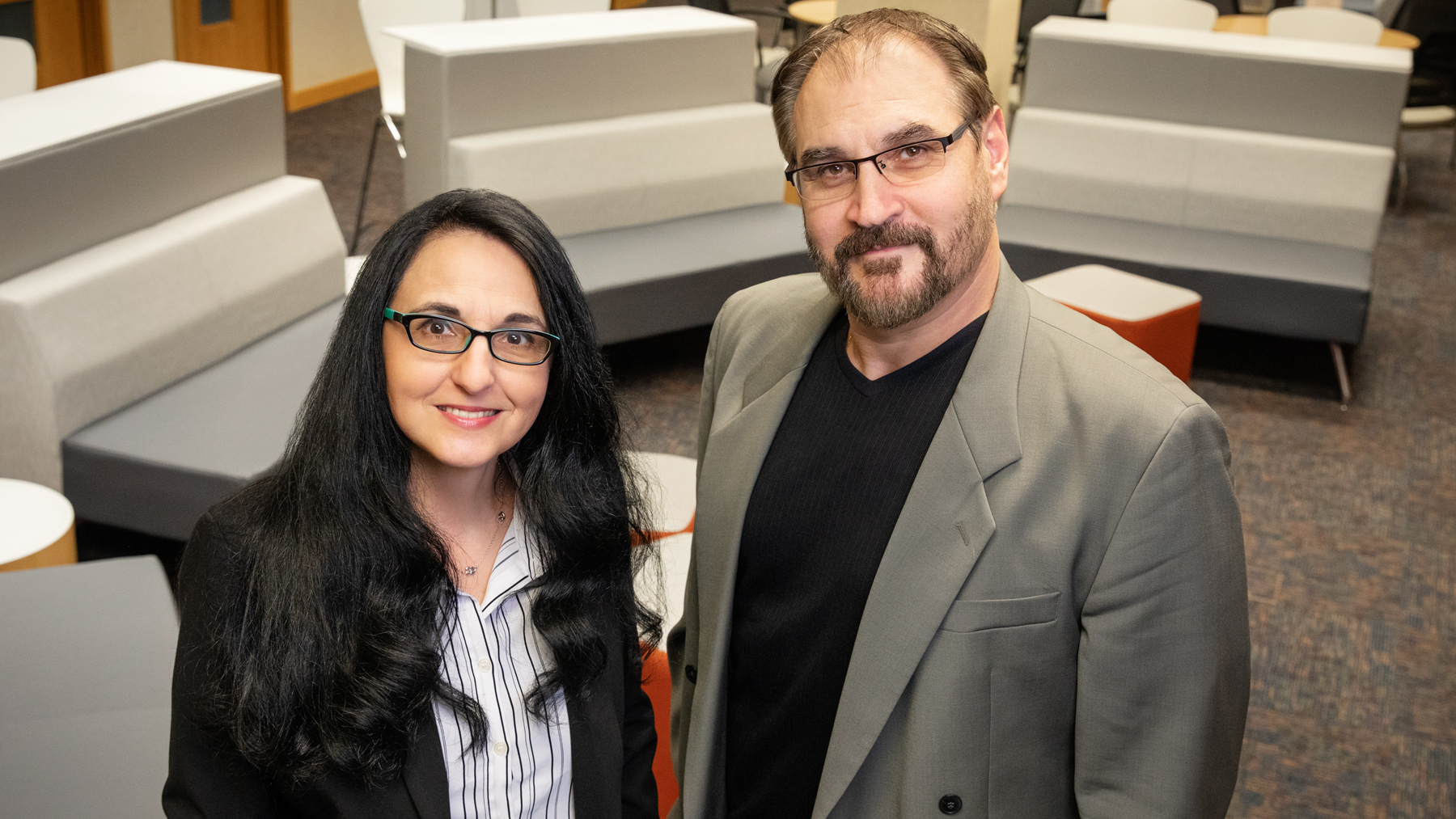 Psychology professors Sanda Dolcos, left, and Florin Dolcos led a study of religiosity and emotion-regulation strategies among healthy adults.  Photo by L. Brian Stauffer