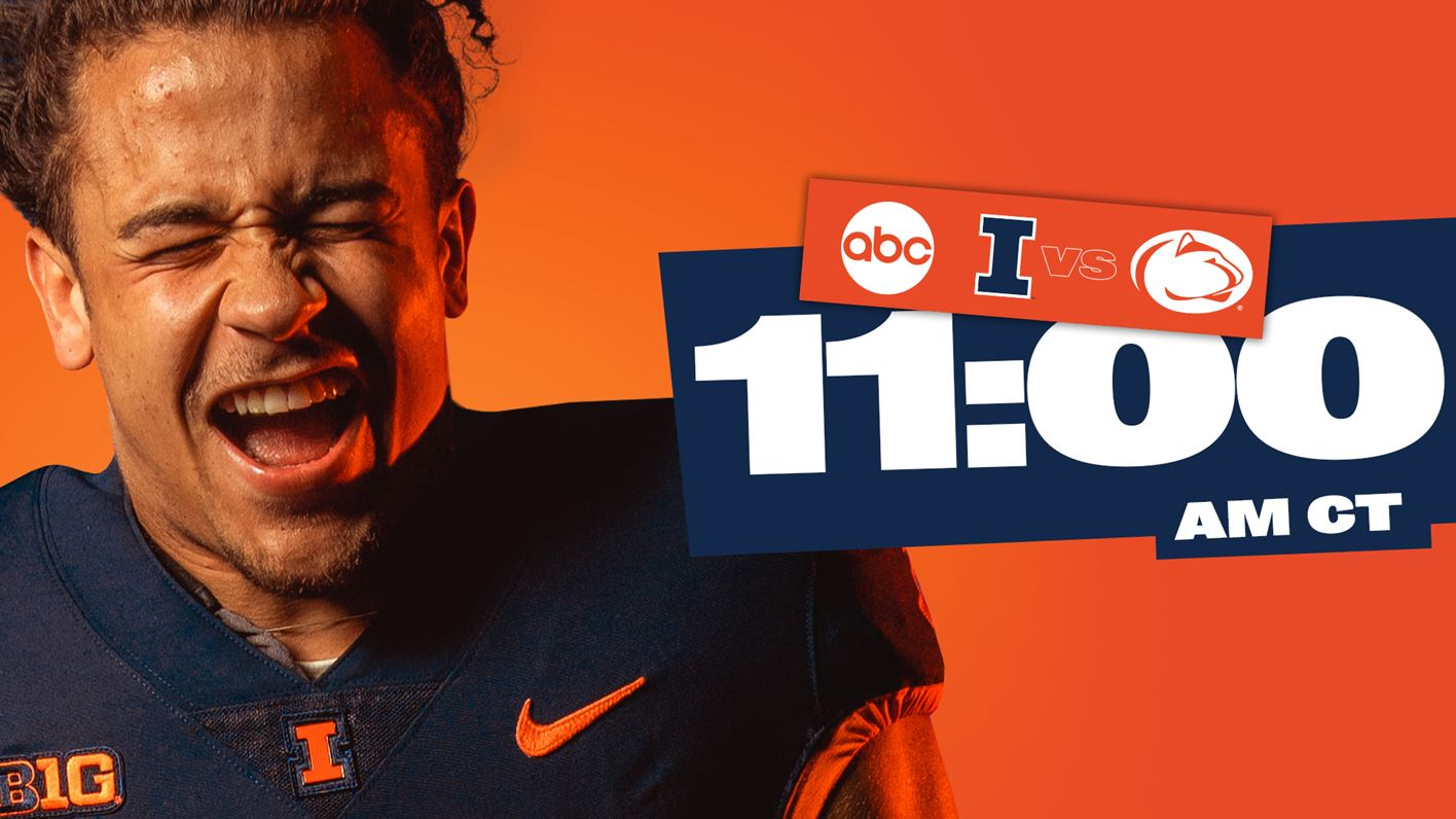 graphic for Illinois vs Penn State with ABC logo and featuring grinning football player