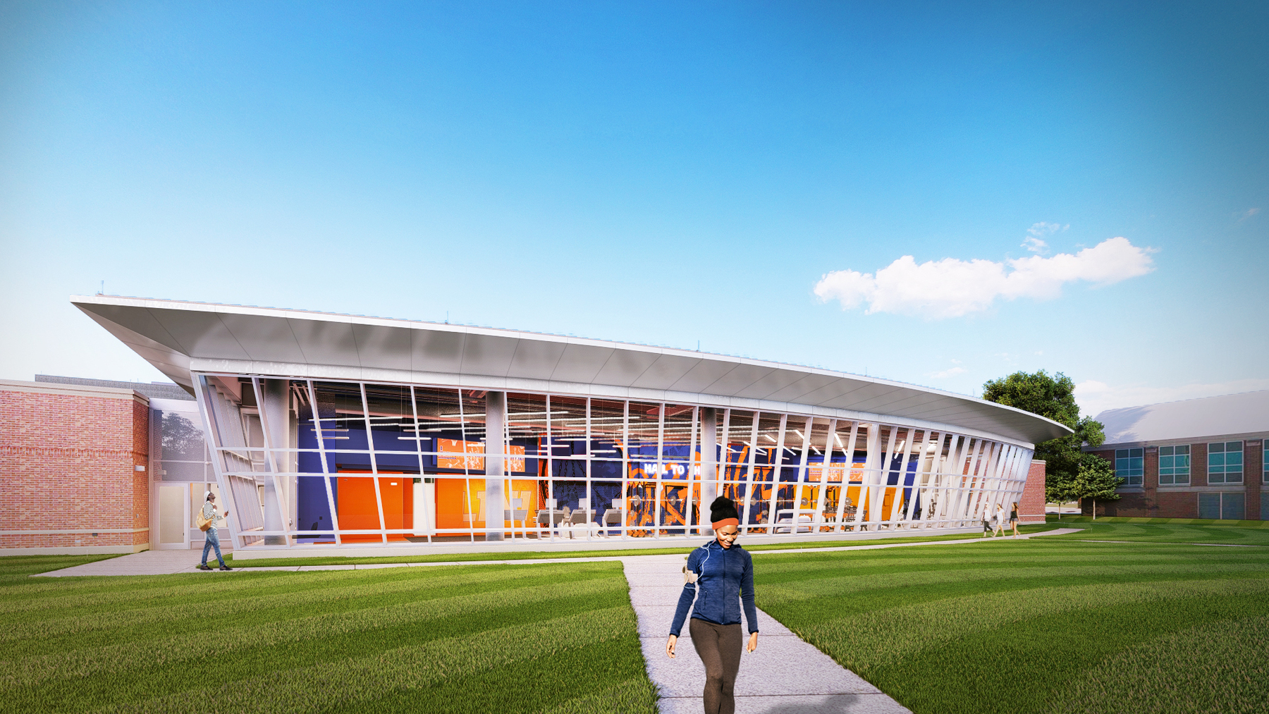 artist's exterior view of expanded Ubben Basketball Complex