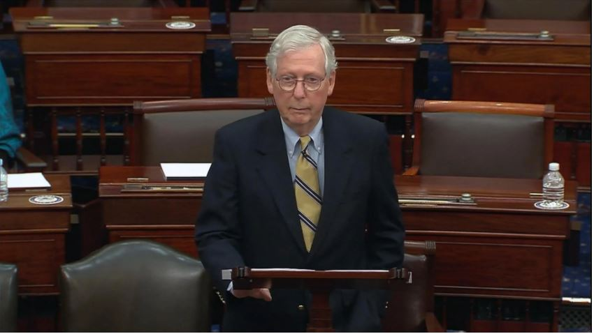 """Minority leader Mitch McConnell, speaking on the Senate floor, claims ending the filibuster would bring a """"nuclear winter"""" on the Senate floor. (Photo courtesy WTTW News)"""