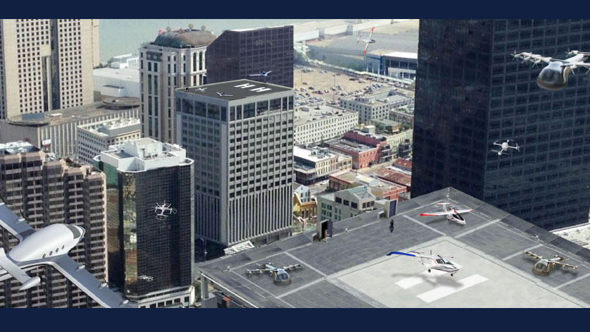 Artist's conception of an urban air mobility environment, where air vehicles, with or without onboard pilots, carrying out a variety of missions can interact safely and efficiently. Credit: NASA