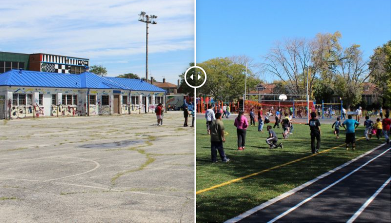 Chicago's Space to Grow initiative turned a Morrill Elementary School playground green. (Photo courtesy: Space to Grow)