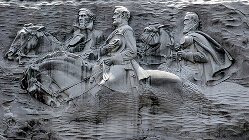 The Confederate Memorial Carving commemorates Southern Civil War leaders at Stone Mountain in Georgia. Protesters have called for the monument to be destroyed. (Public domain image.)