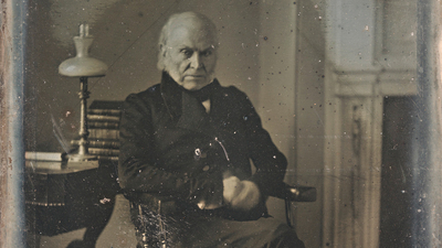John Quincy Adams, in the earliest still-existing photo of a president, taken more than a dozen years after his term. Daguerreotype by Philip Haas, 1843, courtesy National Portrait Gallery, Smithsonian Institution