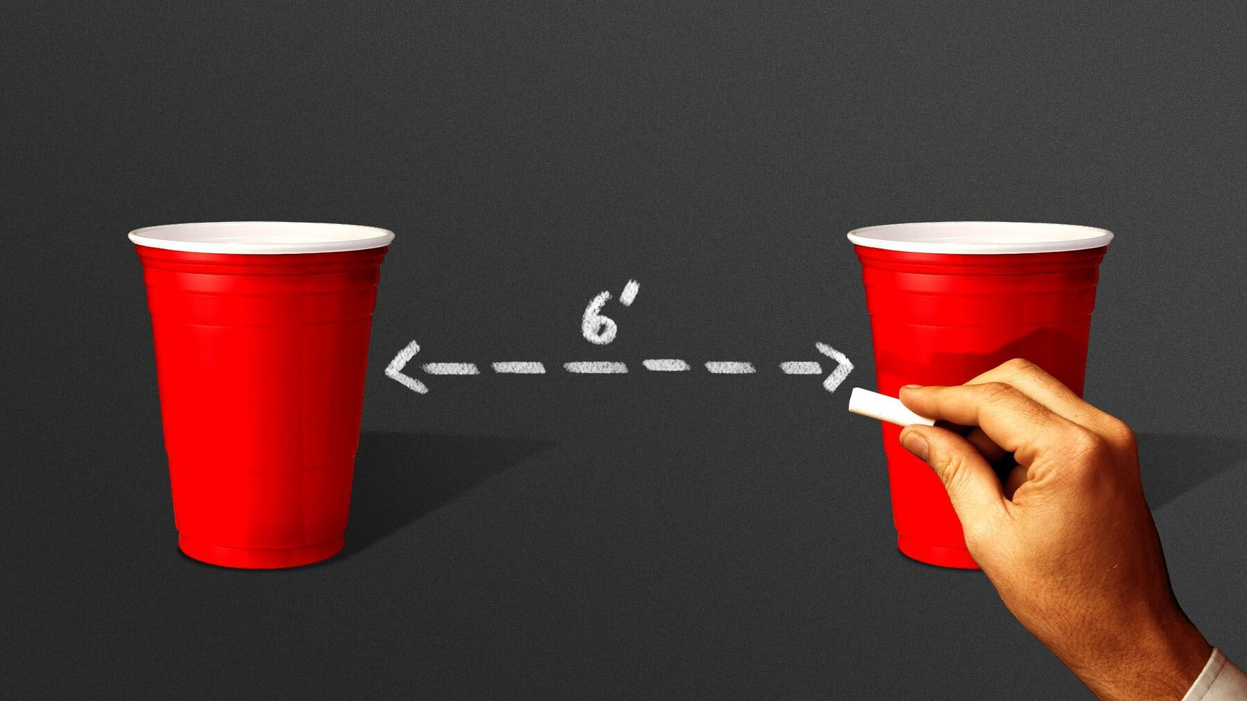 red Solo cups with 'chalkboard writing' indicating six foot distancing requirement for social situations such as a college party. Illustration: Sarah Grillo/Axios