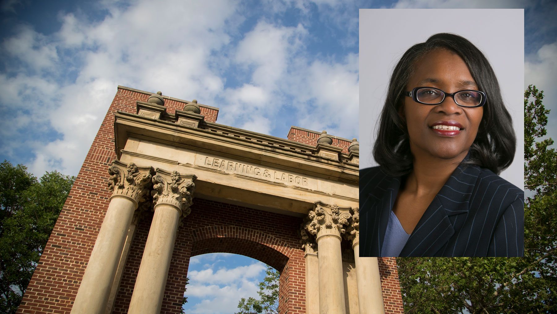 Portrait of Venetia Patton over larger image of the Hallene Gateway at Illinois. Portrait provided without credit.