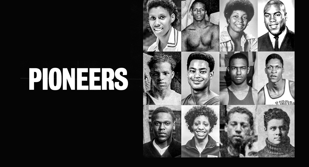 faces of 12 boundary-breaking Black athletes at UIUC