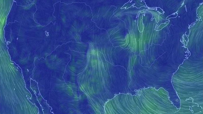 image of map showing winds across the united states
