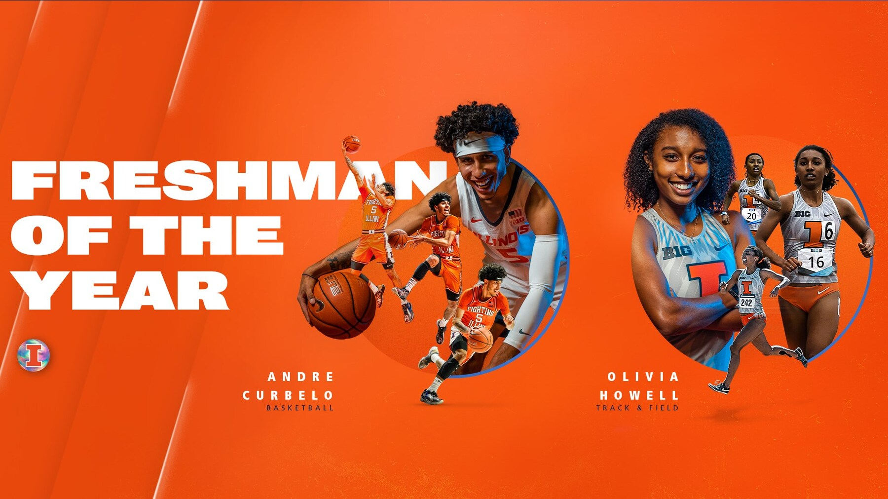 action pictures  of the winners used in a graphic announcing Freshman of the Year honors
