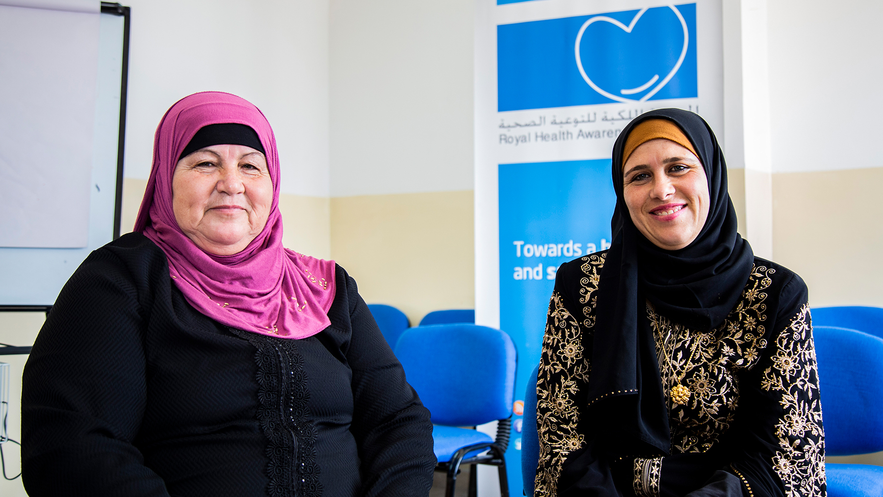 A mother and daughter participated in the patient education program at a clinic in Irbid, Jordan.  Photo by Kathy Kukula for Americares