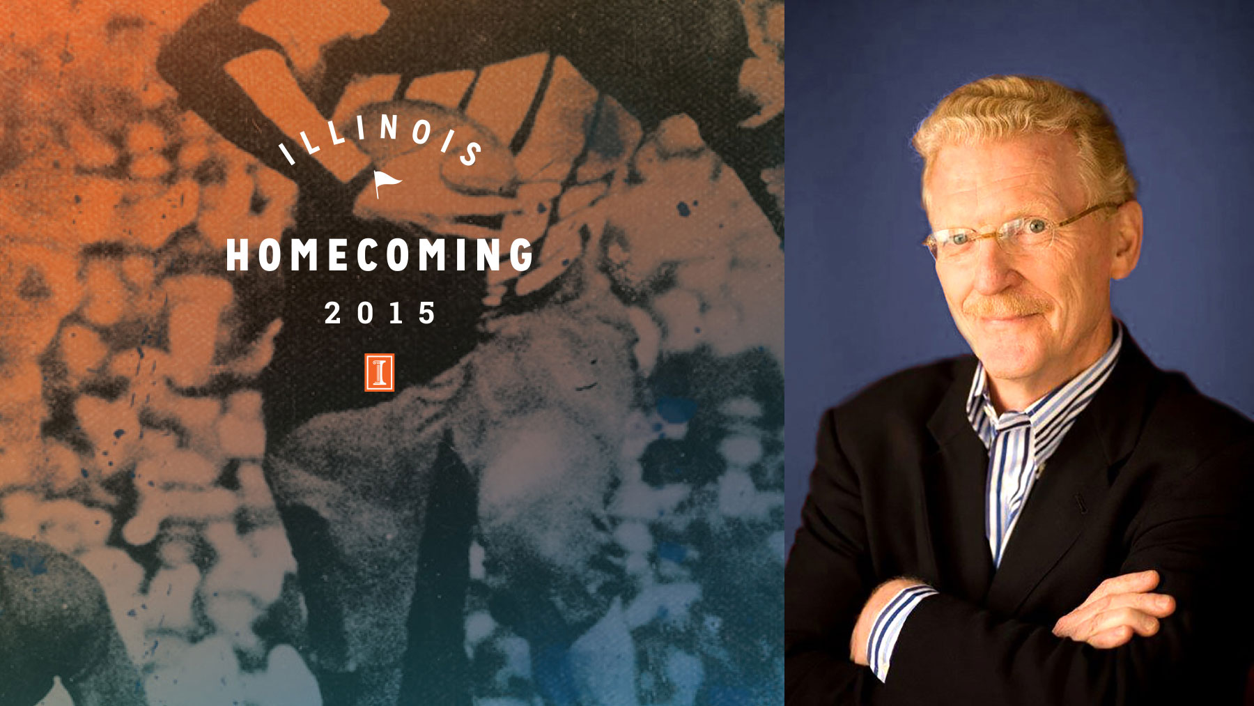 image of bill geist with homecoming graphic