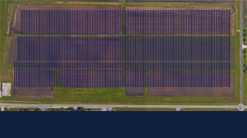 aerial image of solar farm 2.0 location with overlay indicating where solar panels will stand