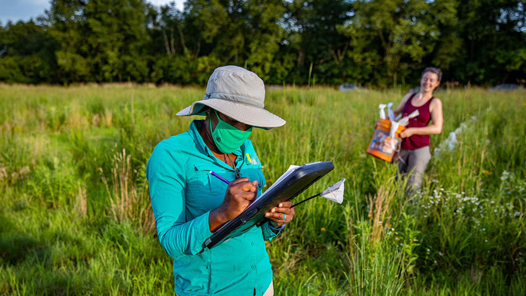 Entomology professor Alexandra Harmon-Threatt and undergraduate student Sabine Miller prepare for an evening of work in a prairie the professor created to study ground-nesting bees.  Photo by Fred Zwicky
