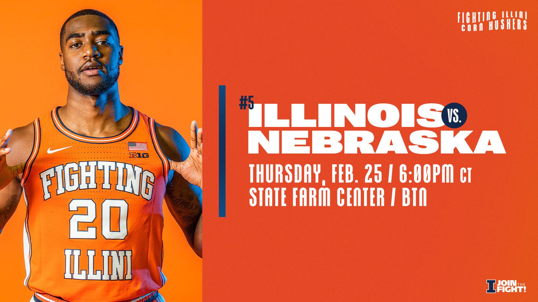 xenior Da'Monte Williams featured on graphic promoting Illinois vs. Nebraska on Feb. 25