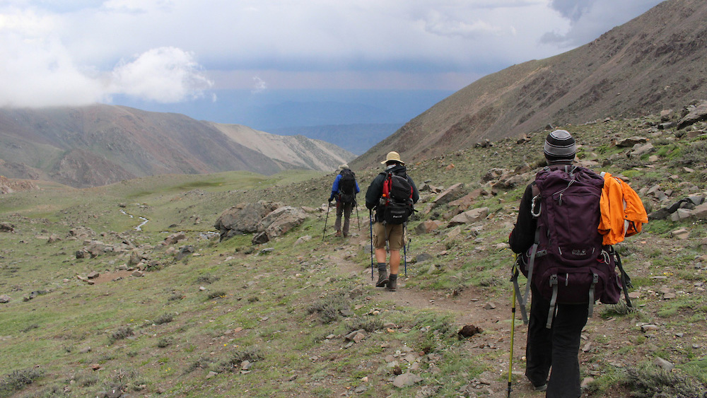 image of hikers on an acclimatization hike, by Diana Yates