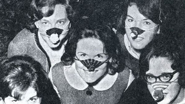 image of students wearing 'snoot boots,' courtesy of the University Archives