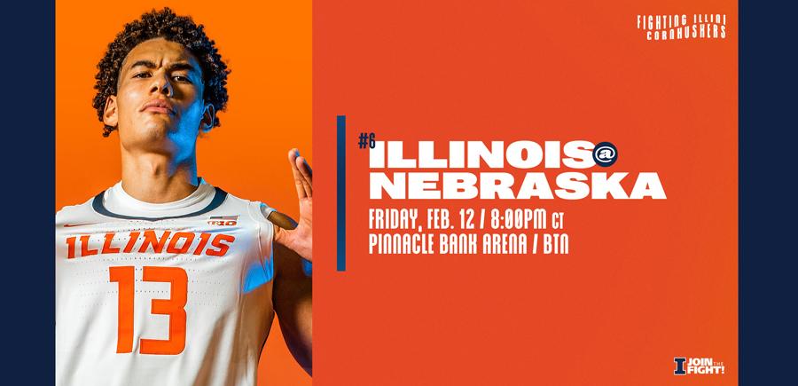 redshirt freshman Benjamin Bosmans-Verdonk featured on graphic promoting Illinois vs. Nebraska game on 2/12/202`