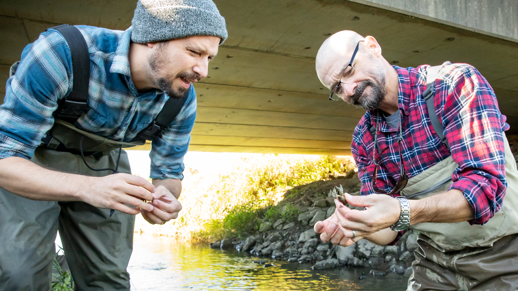 Eric Larson, left, and Christopher Taylor inspect a captured crayfish.  Photo by L. Brian Stauffer