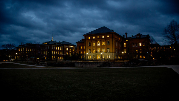 photo of the Engineering Building at night by L. Brian Stauffer