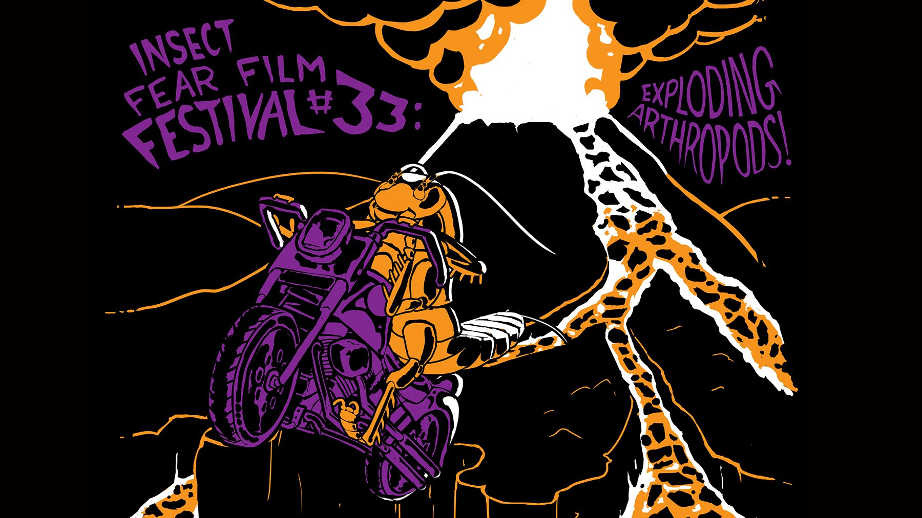 Graphic image promoting the Insect Fear Film Festival, by Chip Austin