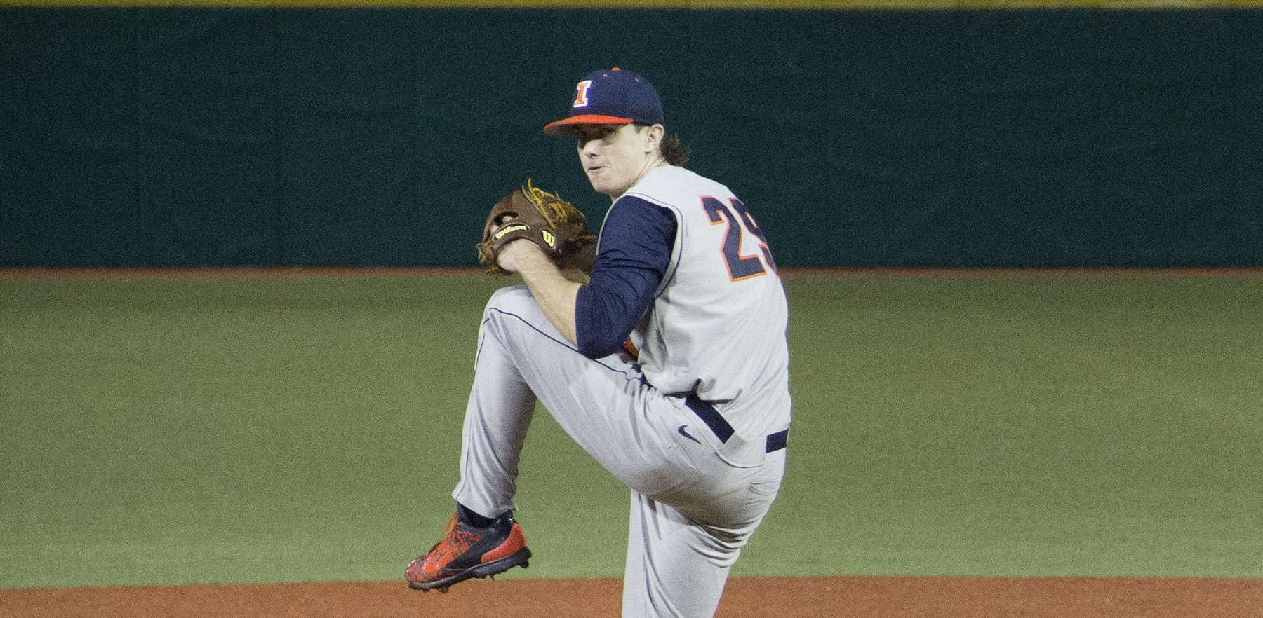 image of Illini pitcher Cody Sedlock in his wind-up
