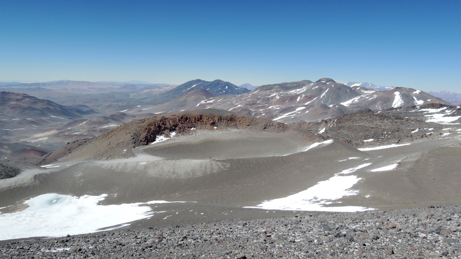Phot of the highest lake in the world, as seen from near the summit of Ojos del Salado, by Pat Rastall