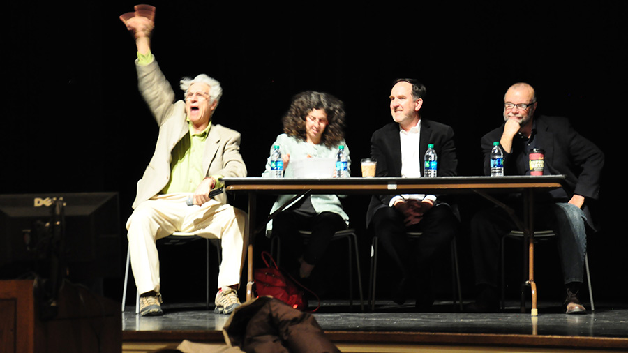image of judges responding to a pitched story idea