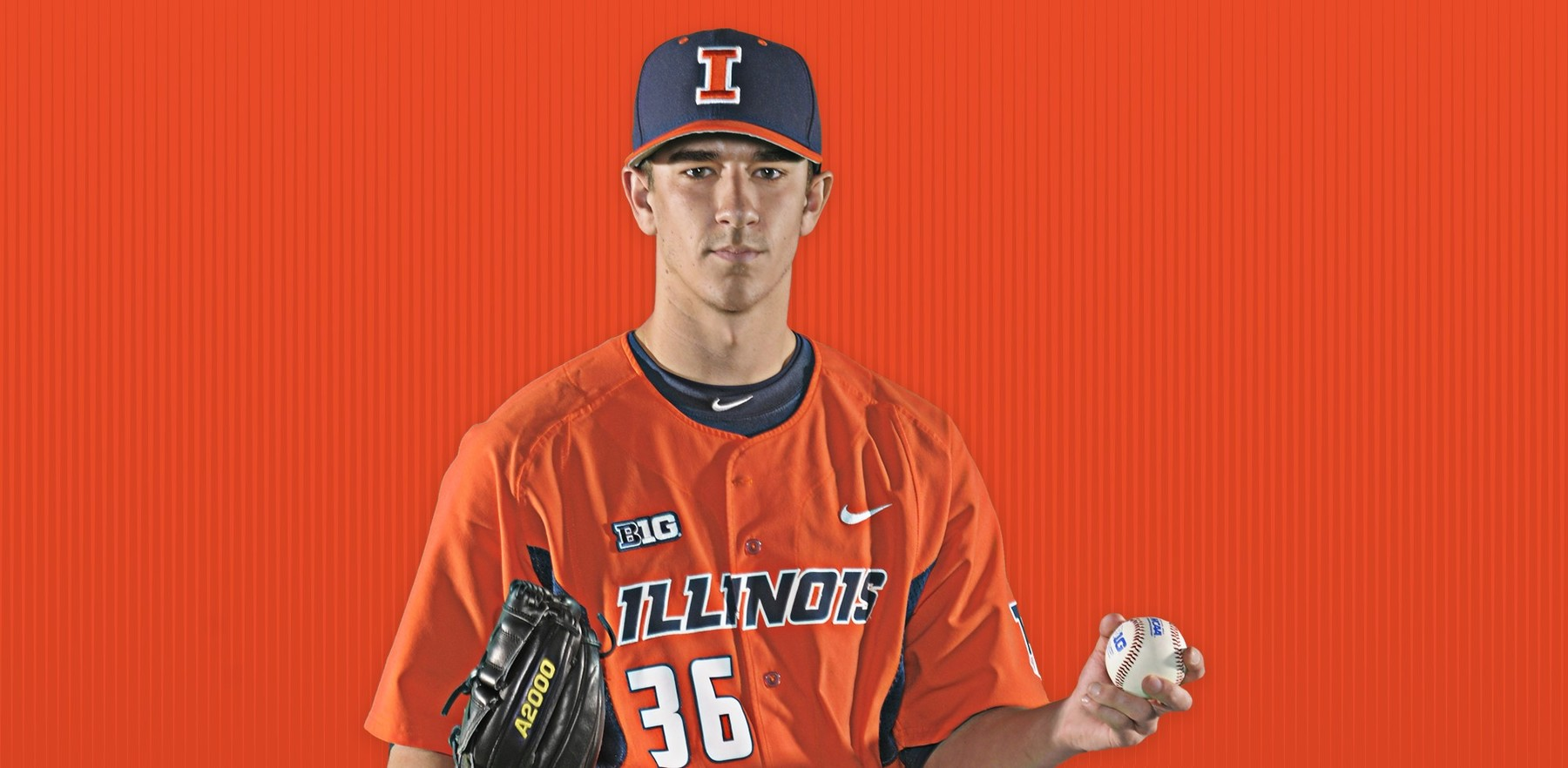 promotional image of Illini pitcher Doug Hayes from DIA