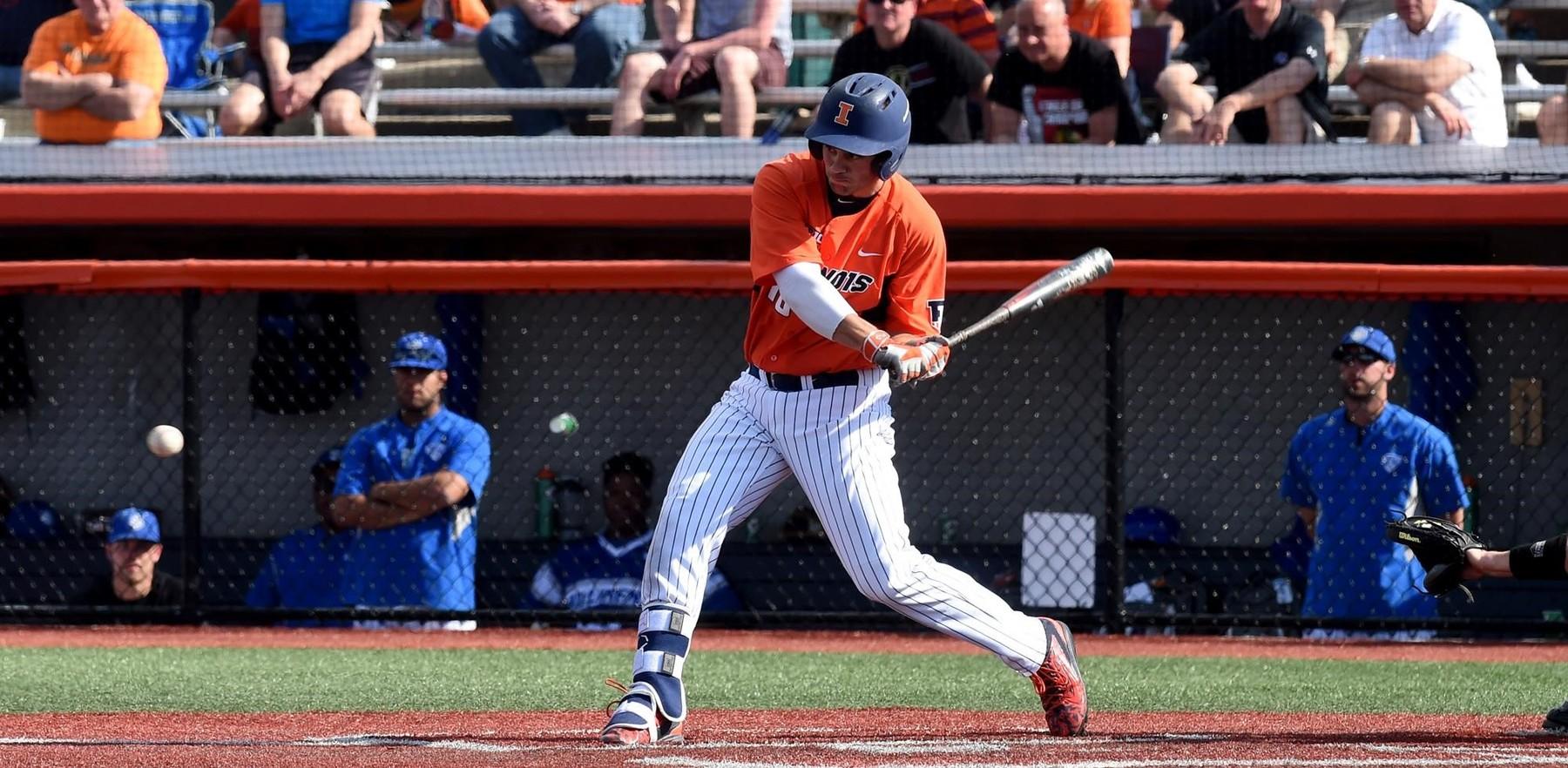 image of Illini baseball player at bat, swinging