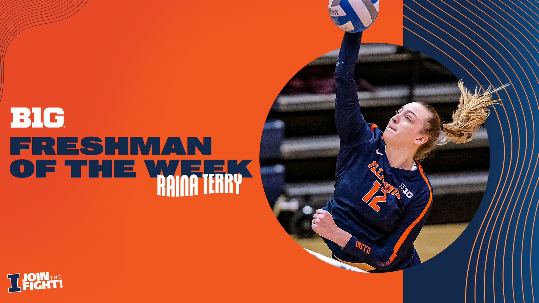 Raina Terry featured on graphic announcing her selection as Big Ten Freshman of the Week