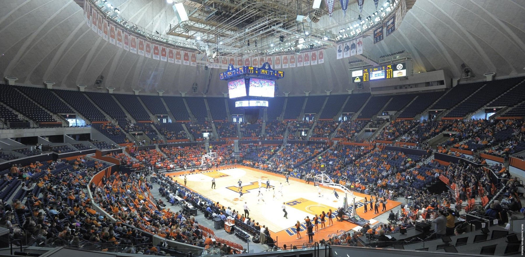 wide shot of the State Farm Center during a women's basketball game