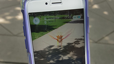 Spearow, a Pokemon character, appears on the Quad in the augmented reality game Pokemon Go