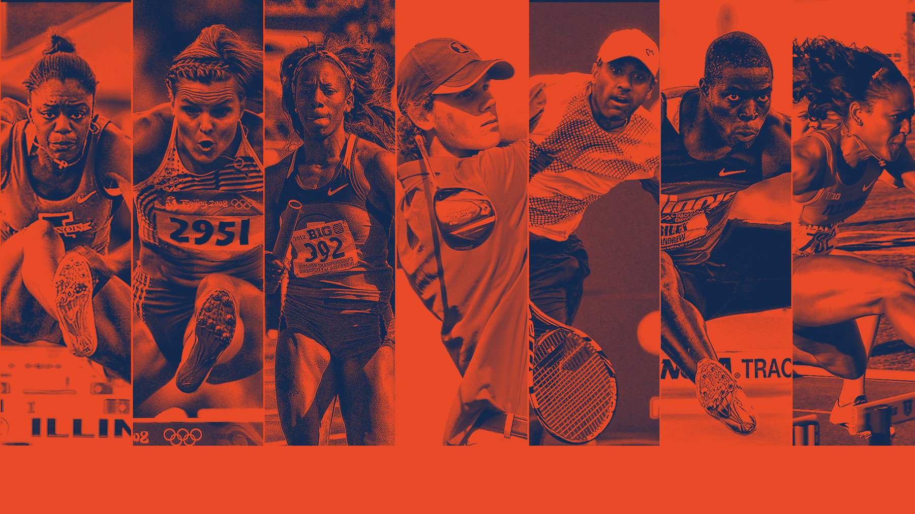composit image of the seven Illini athlete performing in thier sport