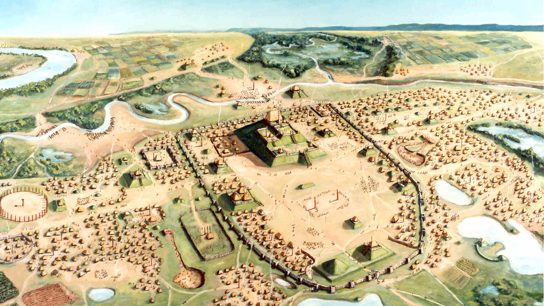 Painting of Cahokia by William R.  Iseminger, courtesy of Cahokia Mounds State Historic Site