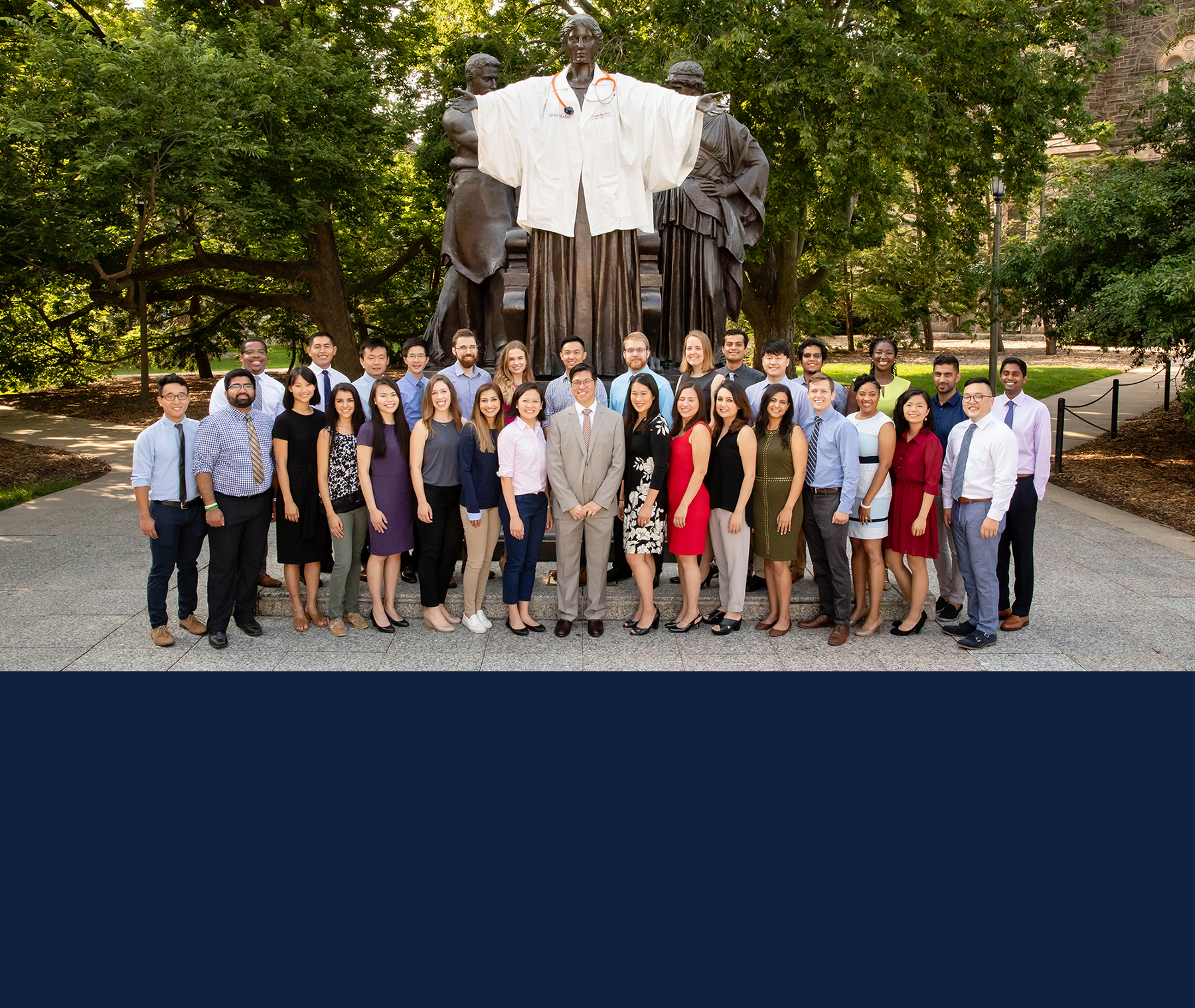 The first class of students at the Carle Illinois College of Medicine in 2018 joined Dr. King Li, front center, the dean of Carle Illinois. Photo by L. Brian Stauffer