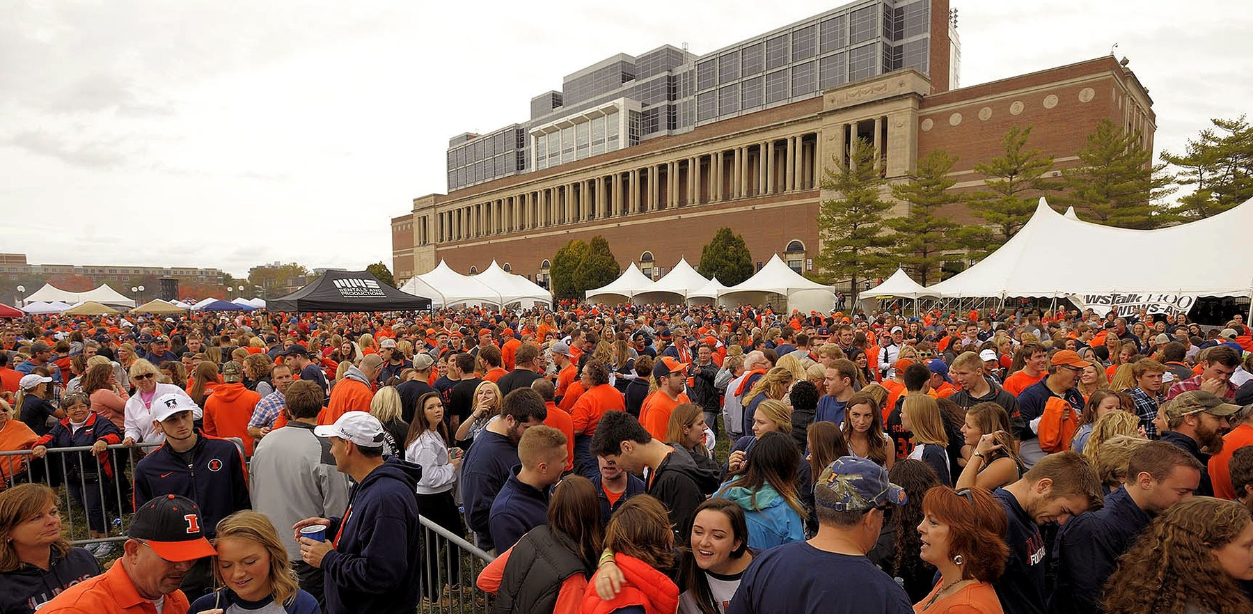 a crowd gathered at Grange Grove, photo by the Division of Intercollegiate Athletics